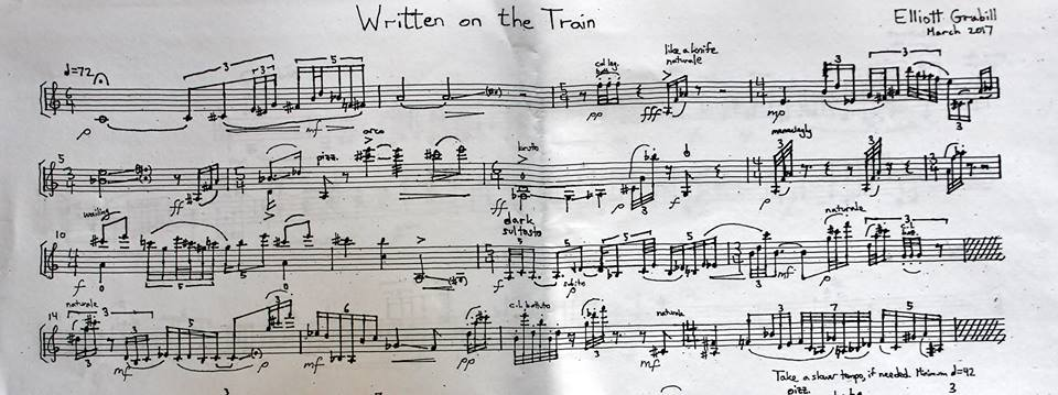 "Excerpt from ""Written on the Train,"" for solo violin, recorded by Peter Sheppard-Skaerved."